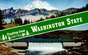 Washington Greetings Showing Mount Rainier and Grand Coulee Dam