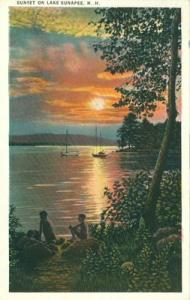 Sunset on Lake Sunapee, NH, 1920s unused Postcard