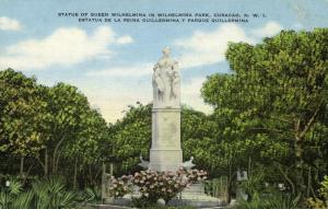 curacao, N.W.I., WILLEMSTAD, Statue of Queen Wilhelmina in Park (1940s)