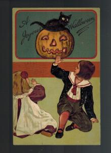 1909 Postcard Cover Halloween Jack O'Lantern Black CAt and Girls Brooklyn NY USA