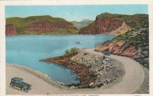 CANYON LAKE , Arizona, 1910s; Apache Trail Along the Shore of Canyon Lake