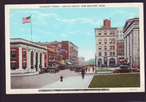 P1500 old unused postcard view old cars people pleasant st. new bedford mass
