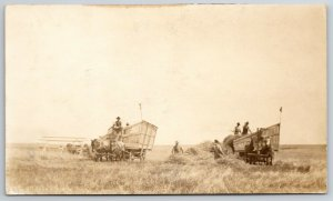 RPPC Bailing Hay w/2 Large Pieces of Farm Equipment~Real Photo Postcard