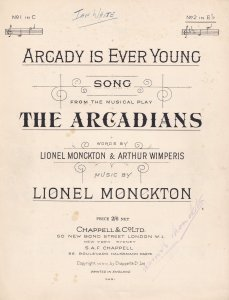 Arcady Is Ever Young The Arcadians Play Olde Sheet Music