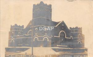Kansas Ks Real Photo RPPC Postcard 1908 HUTCHINSON M.E. Church Adamson Image