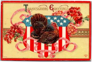 Thanksgiving Greetings Turkey Patriotic c1910 Vtg Postcard M14