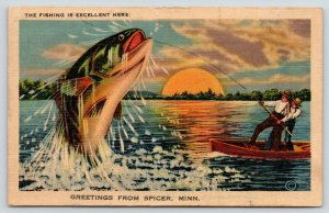 Fishing is Excellent in Spicer Minnesota~Exaggerated Fish~Sunset~1945 Linen PC
