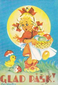 AS: GLAD PASK! Girl holding basket of colored eggs looking at chick holding a...