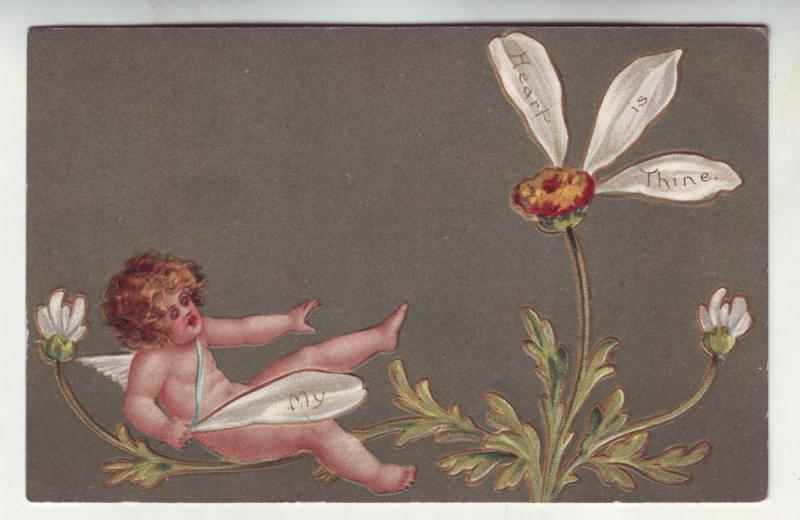 P152 JLs 1909 postcard flower petals cupid my heart is