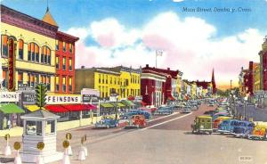 Danbury CT Main Street Business District Feinsons Store Old Cars Postcard