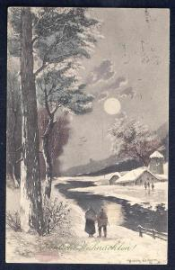 Frohliche Weihnachten Countryside scenery used c1923