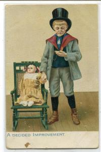 A Decided Improvement Boy Doctor Doll Little Men Women Tuck series postcard