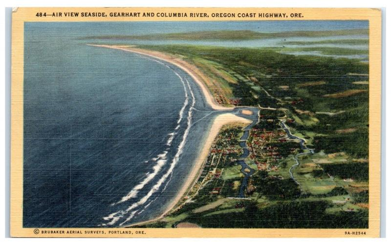 1940 Aerial View of Seaside, Gearhart, and Columbia River, OR Postcard