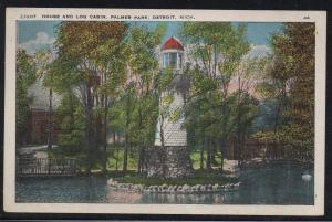 Detroit MI  Log Cabin & Lighthouse Palmer Park unused colour PC