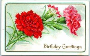 Vintage Embossed Birthday Greetings Postcard Red Carnation Flowers 1913 Cancel