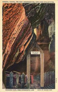Niagara Cave, Iowa, IA-MN Line, Crystal Chapel,1935 Linen Vintage Postcard d7264