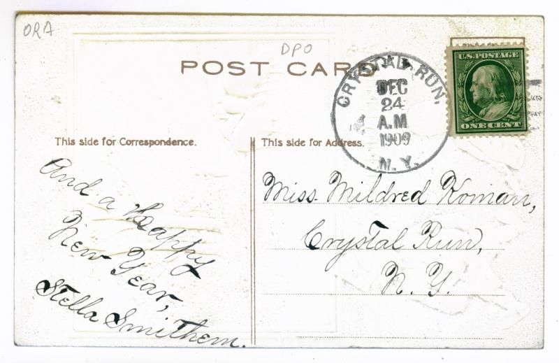 Crystal Run, New York local use 1909 Embossed Christmas Postcard