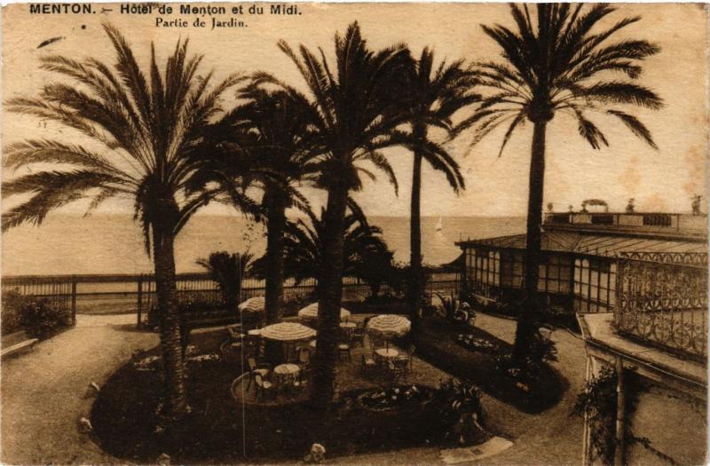 CPA MENTON - Hotel de MENTON et du Midi - Partie de Jardin (351178)