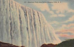 New York Niagara Falls Amerian falls From Below Curteich