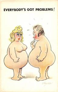 D62/ Nude Comic Bamforth Risque Postcard c1940s Boobs Woman Taylor Fat 24