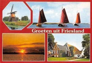 Netherlands Groeten uit Friesland, Muehle Mill Moule Sunset Boats Bateaux