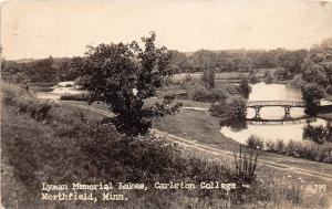 D46/ Northfield Minnesota RPPC Postcard '36 Carlton College Lyman Memorial Lakes