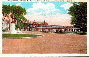 New York Binghamton Endicott-Johnson Factory and Spanish War Memorial