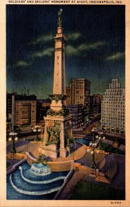 Indiana Indianapolis Soldiers and Sailors Monument At Night Curteich