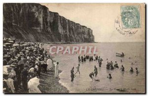 Treport - The Beach has high tide - Old Postcard