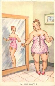 The mirror preserves comic fat woman caricature