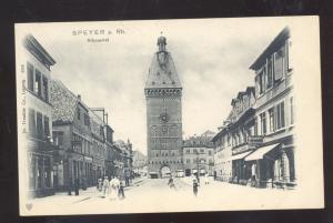 SPEYER A. RH. ALLPOERTEL DOWNTOWN STREET SCENE GERMANY VINTAGE POSTCARD