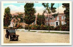 Salem Massachusetts~Vintage Auto Drives Past Saltinstall School~1920s Postcard
