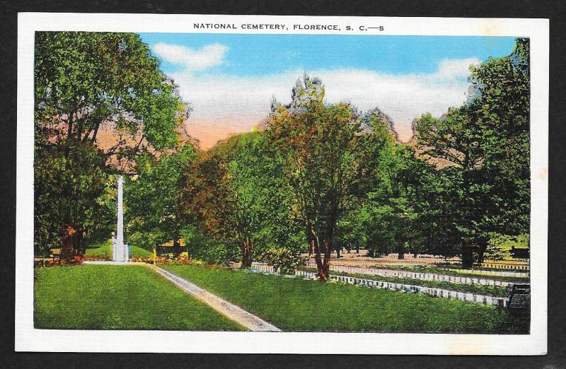 Ground View National Cemetery Florence South Carolina Unused c1930s