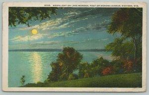 Madison Wisconsin~Moonlight On Lake Monona~1920s Postcard