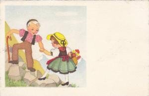 Swiss Couple, Blond Boy Helping Brunette Girl in Yellow Hat Up Stones on Moun...