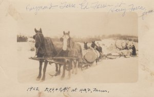 RP: Horses pull logging sled , 1922