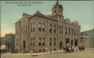 Homestead PA Municipal Bldg Fire Dept c1910 Postcard