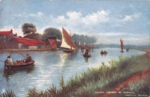 HORNING NORFOLK BROADS UK FISHING CONTEST~TUCK #6486 POSTCARD 1904 PSTMK