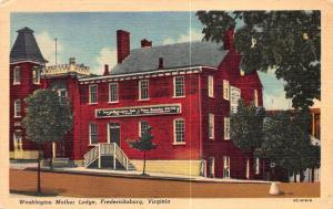 Washington mother Lodge, Fredericksburg, Virginia, Early Linen Postcard, Unused
