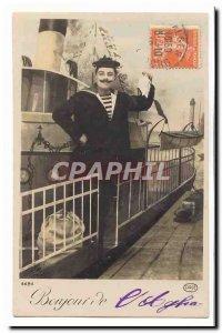 Old Postcard Hello from & # 39Aglia (Cherbourg Algeria) (boat boat sailor)