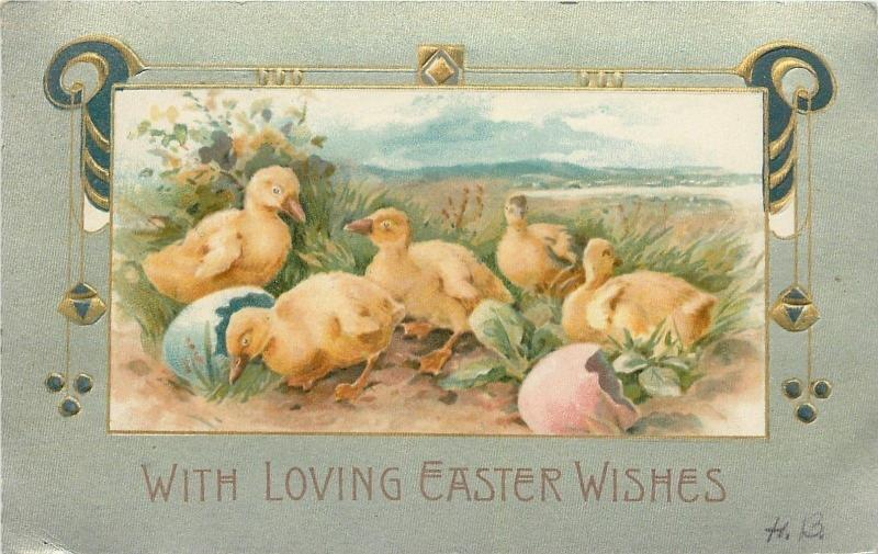 Easter~Lil Ducklings Break Out Of Colored Eggs~One Eyes Lake~Art Nouveau~Winsch