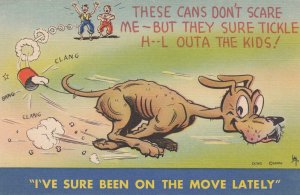 COMIC; 1930-40s; Dog with Cans Tied To Tail, I've Sure Been On The Move Lately