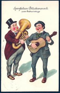 GERMANY Birthday Congratulations Tuba & Guitar used c1927