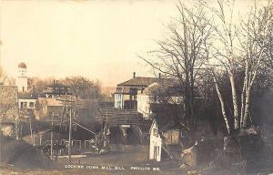 Phillips ME Looking Down The Hill Bridge Buildings 1910 View RPPC  Postcard