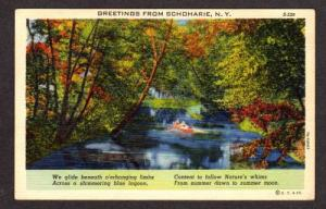 NY Greetings from SCHOHARIE NEW YORK Postcard Linen PC