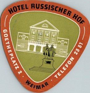 Germany Weimar Hotel Russischer Hof Vintage Luggage Label sk4703
