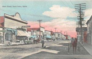 SAND POINT Idaho Main Street Scene Jeannot c1910s Hand-Colored Vintage Postcard