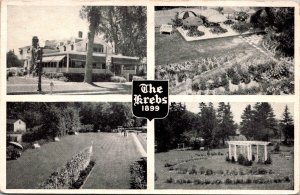 The Krebs Hotel Skaneateles New York Multiview gardens historic vtg Postcard