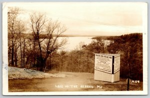 Osage Beach MO~Tourist Sign: Steep Curve Overlake Road~Horseshoe Bend~RPPC 1940