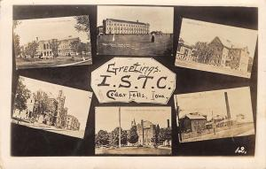 Cedar Falls IA ISNS UNI Multiview: 6 Bldgs & Ladies Playing Tennis~RPPC c1911 PC